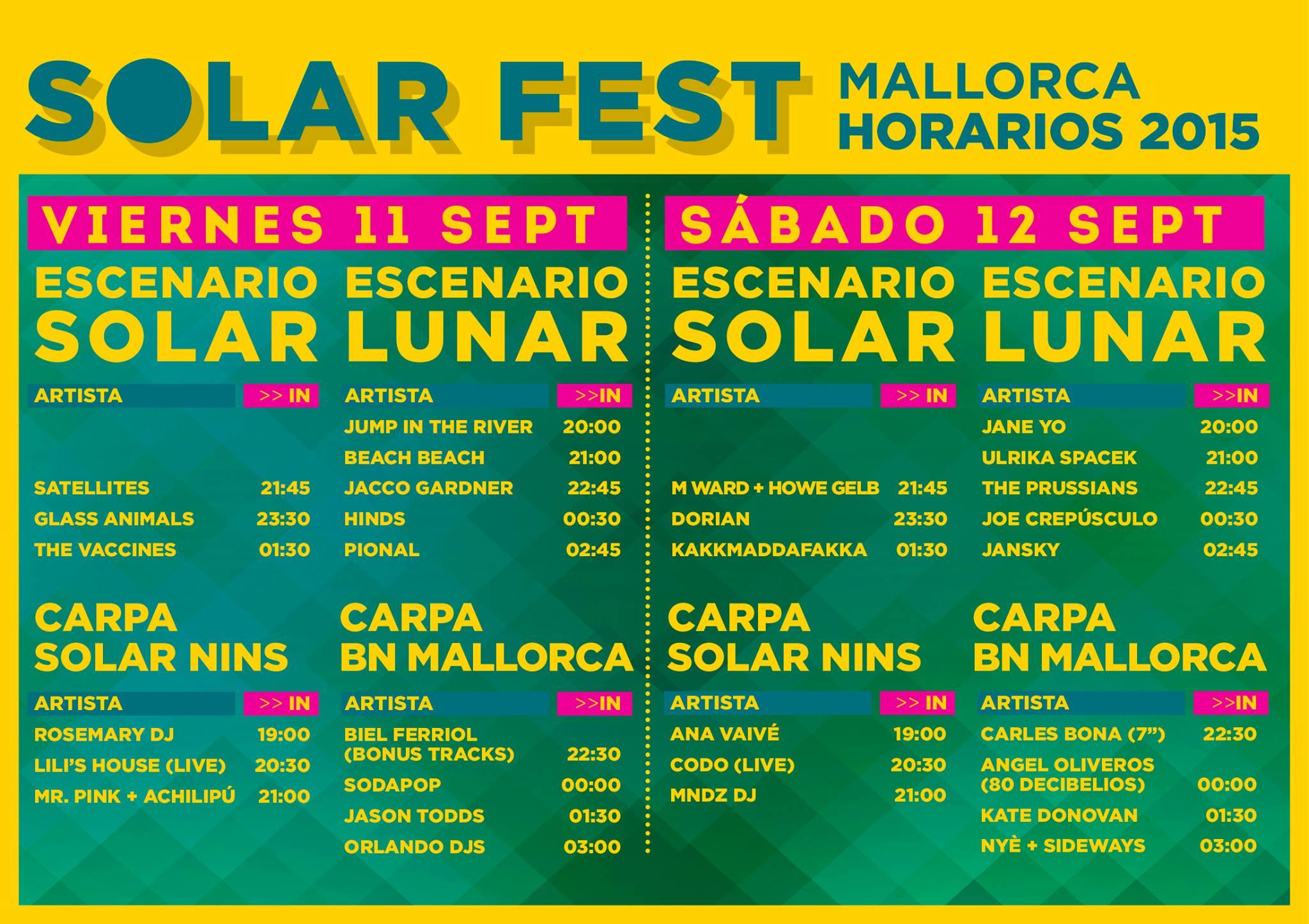 Line Up Solar Fest 2015